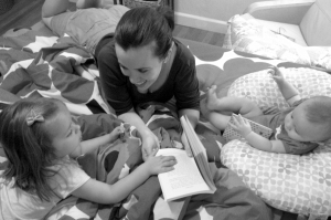 Reading with the girls.