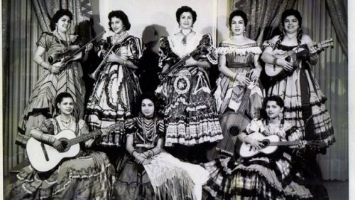 Mariachi Las Adelitas, a group of women mariachis, performed in the 1950s. Photo from the Women's Museum of California.